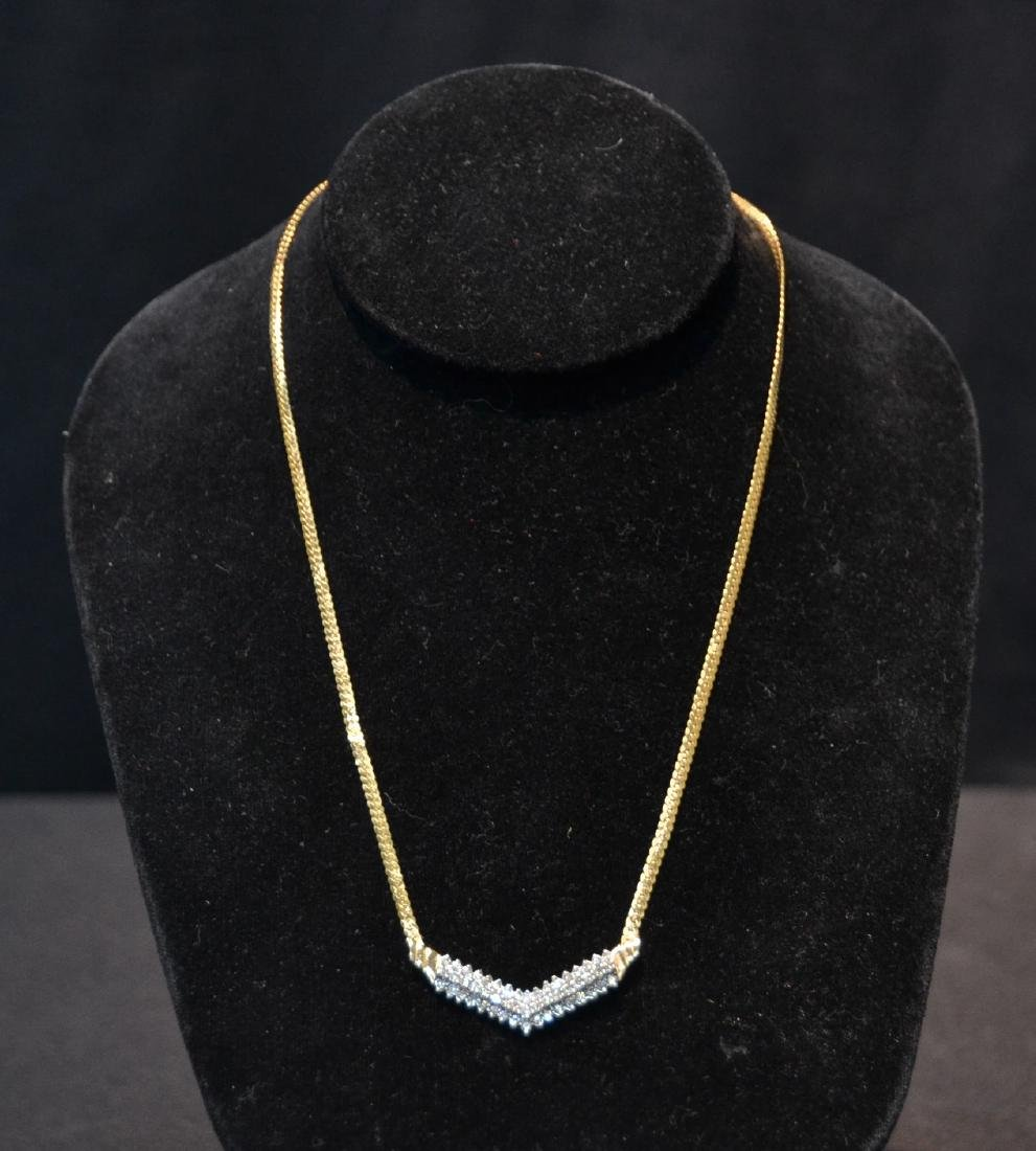14kt GOLD NECKLACE WITH 3 ROWS OF DIAMONDS