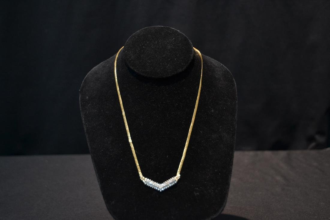 14kt GOLD NECKLACE WITH 3 ROWS OF DIAMONDS - 2