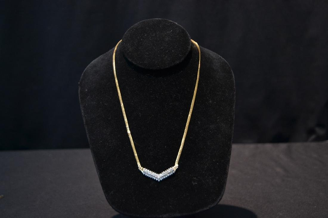 14kt GOLD NECKLACE WITH 3 ROWS OF DIAMONDS - 4
