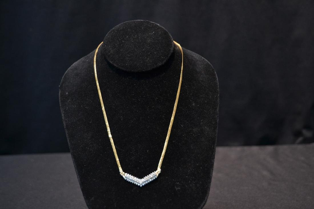 14kt GOLD NECKLACE WITH 3 ROWS OF DIAMONDS - 5