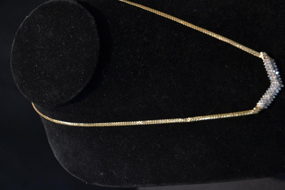 14kt GOLD NECKLACE WITH 3 ROWS OF DIAMONDS - 6