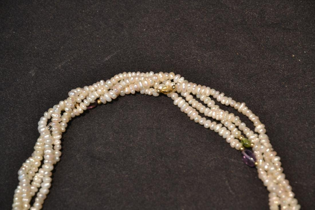 SEED PEARL NECKLACE WITH 14kt GOLD SEPARATORS - 2