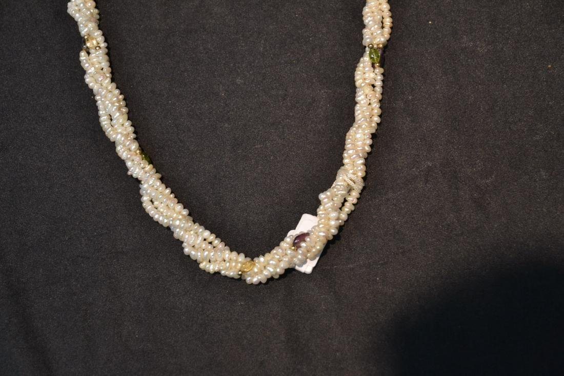 SEED PEARL NECKLACE WITH 14kt GOLD SEPARATORS - 3