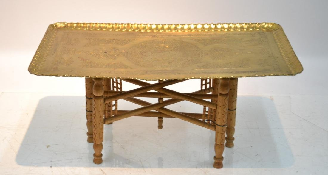 LARGE ENGRAVED BRASS TRAY TABLE WITH FOLDING - 10