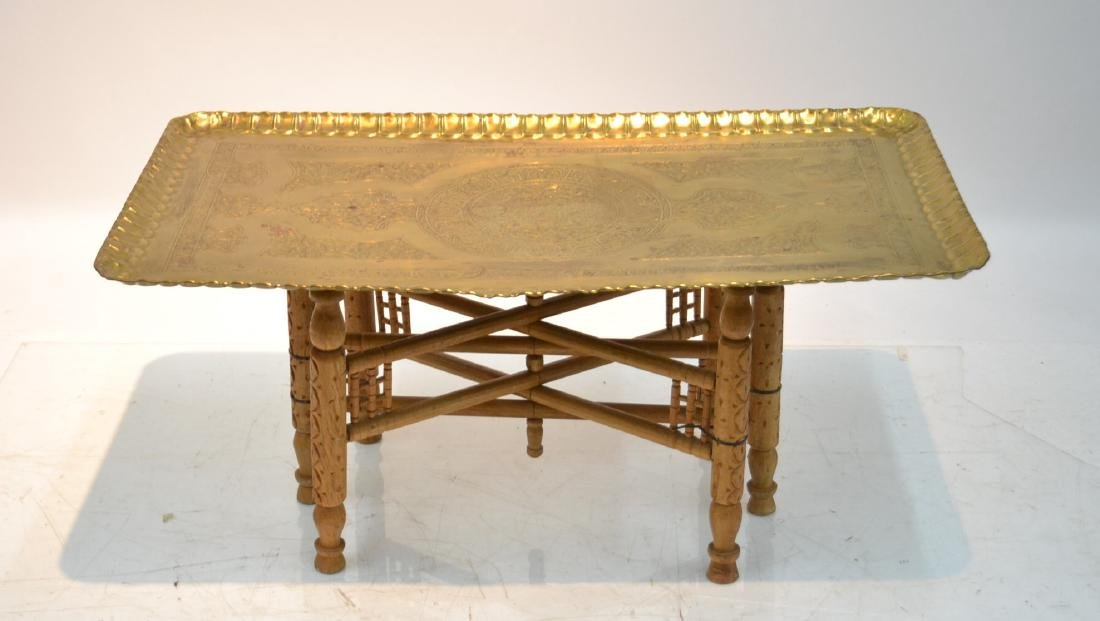 LARGE ENGRAVED BRASS TRAY TABLE WITH FOLDING