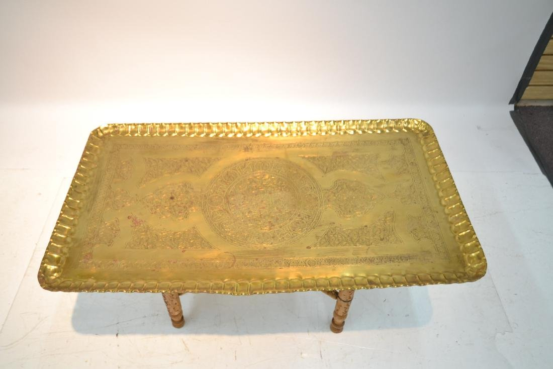 LARGE ENGRAVED BRASS TRAY TABLE WITH FOLDING - 2