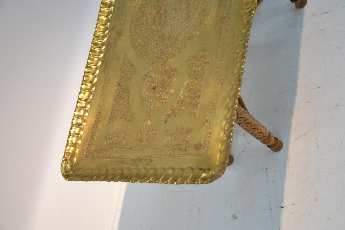 LARGE ENGRAVED BRASS TRAY TABLE WITH FOLDING - 6