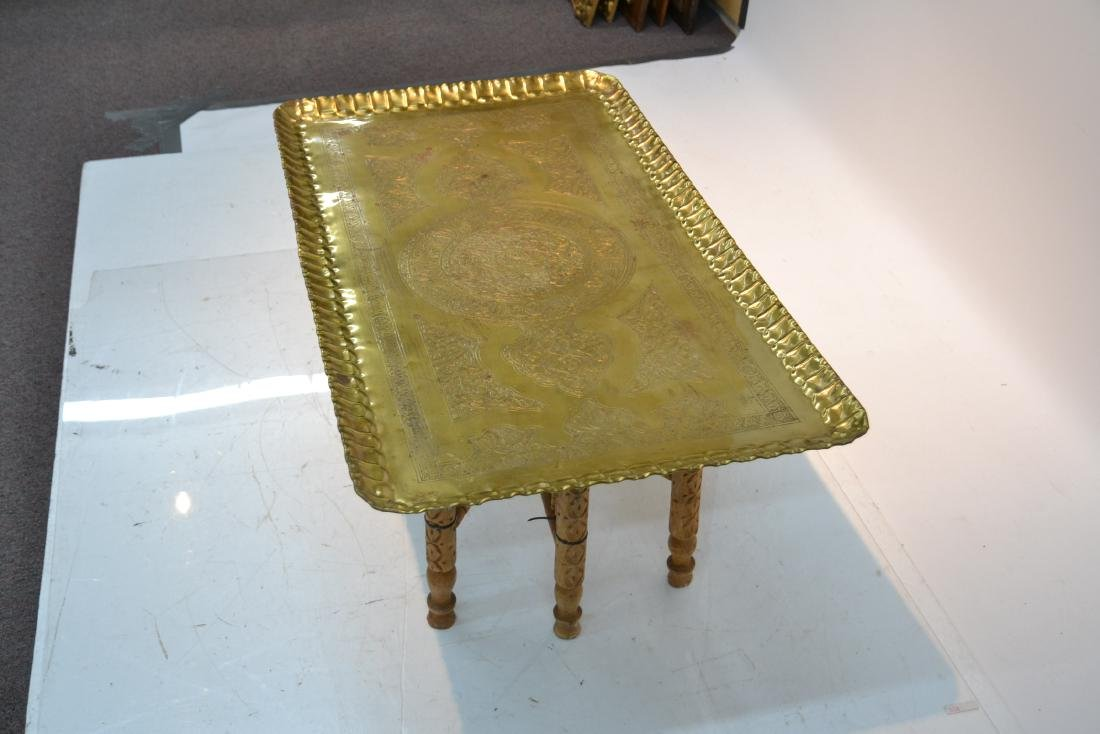 LARGE ENGRAVED BRASS TRAY TABLE WITH FOLDING - 7