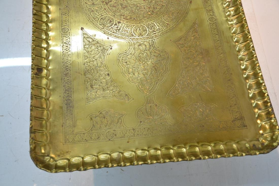 LARGE ENGRAVED BRASS TRAY TABLE WITH FOLDING - 8