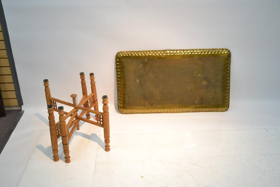 LARGE ENGRAVED BRASS TRAY TABLE WITH FOLDING - 9
