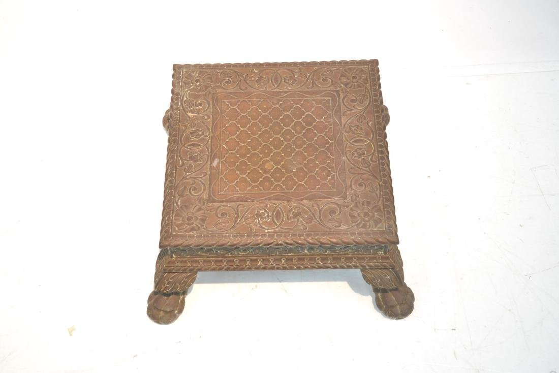 INLAID BRASS MOUNTED WOOD PEDESTAL - 4