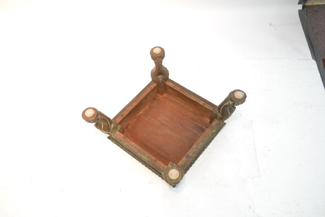 INLAID BRASS MOUNTED WOOD PEDESTAL - 6