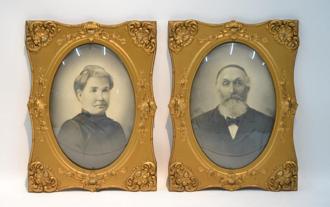 (Pr) VICTORIAN CONVEX PORTRAITS OF MAN & WOMAN
