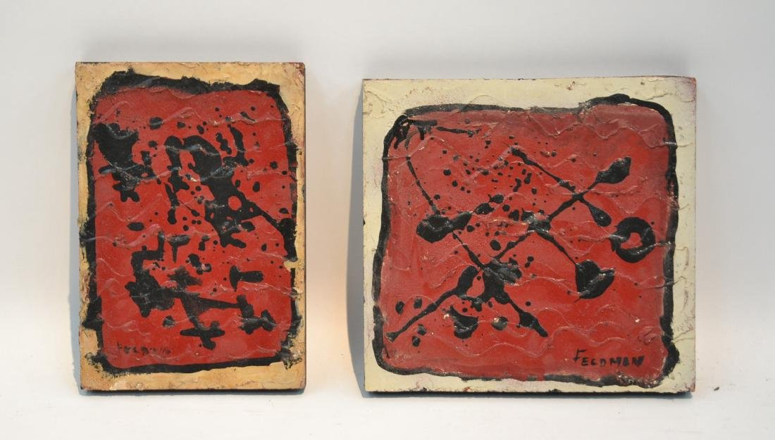 (2) CONTEMPORARY ABSTRACT PAINTINGS ON WOOD