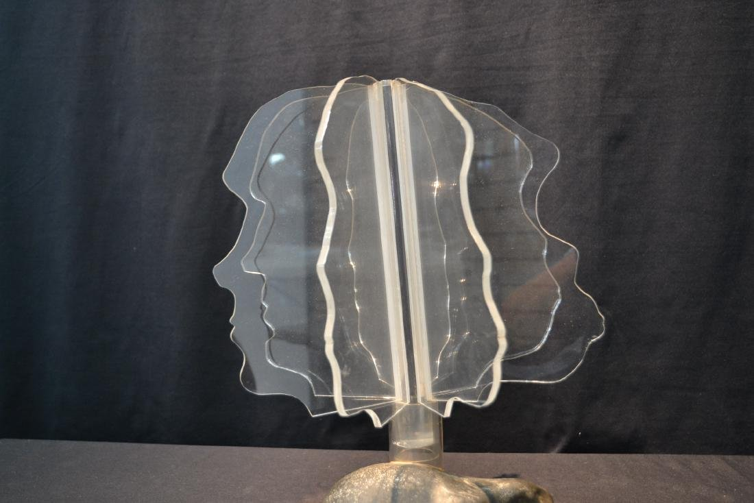 MODERN SCULPUTRE OF LUCITE FACES MOUNTED - 5