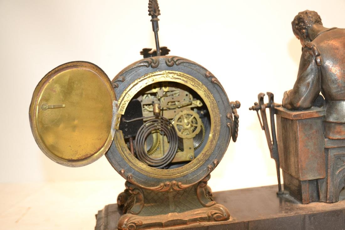 SPELTER CLOCK WITH SEATED FIGURE OF BLACKSMITH - 10