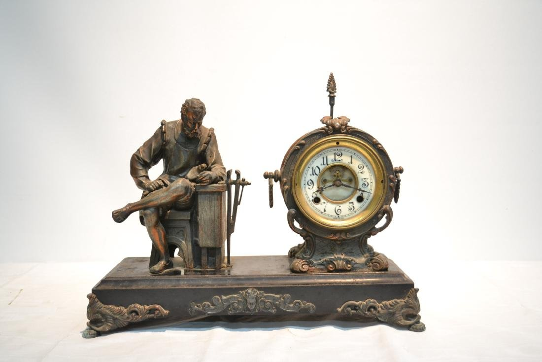 SPELTER CLOCK WITH SEATED FIGURE OF BLACKSMITH - 2