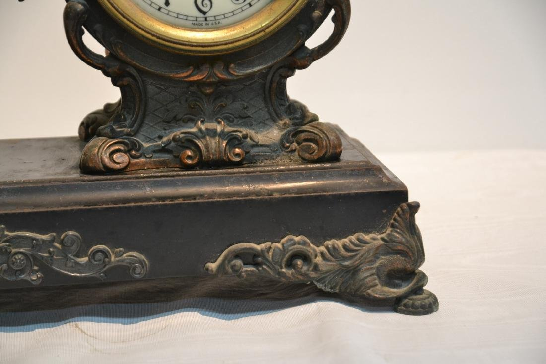 SPELTER CLOCK WITH SEATED FIGURE OF BLACKSMITH - 4