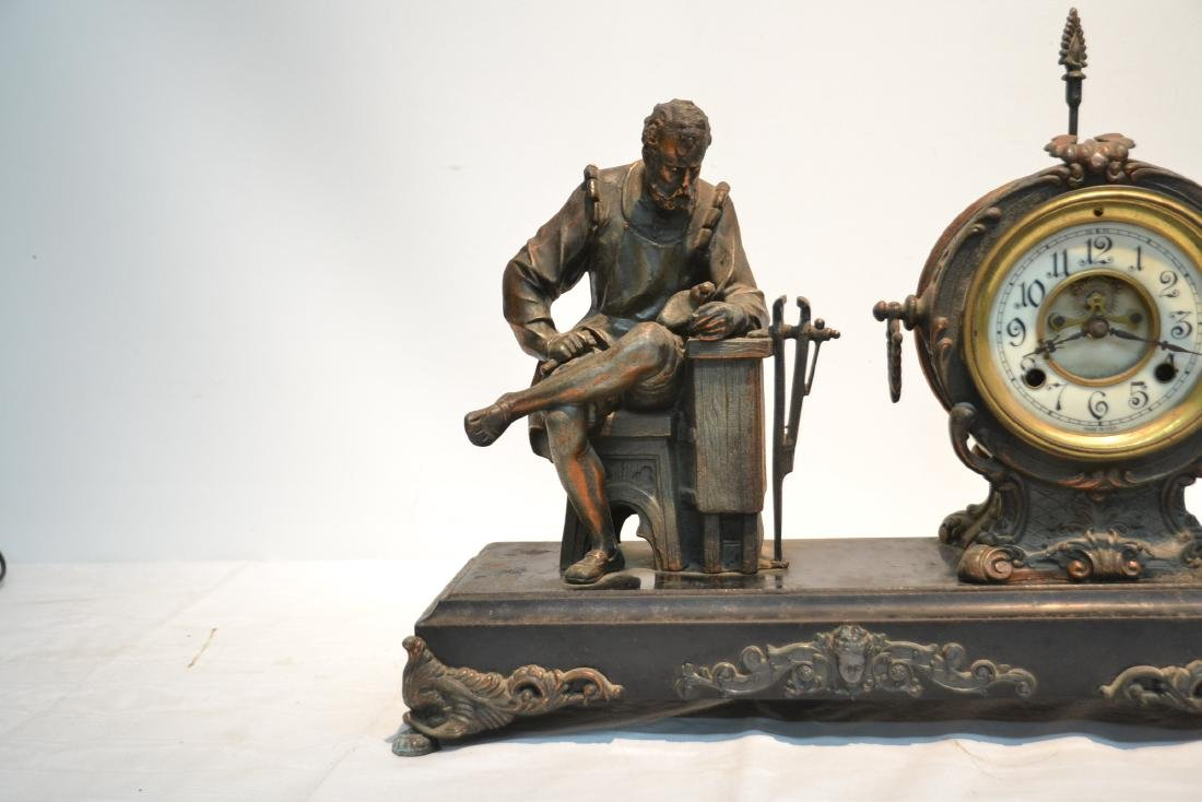 SPELTER CLOCK WITH SEATED FIGURE OF BLACKSMITH - 5