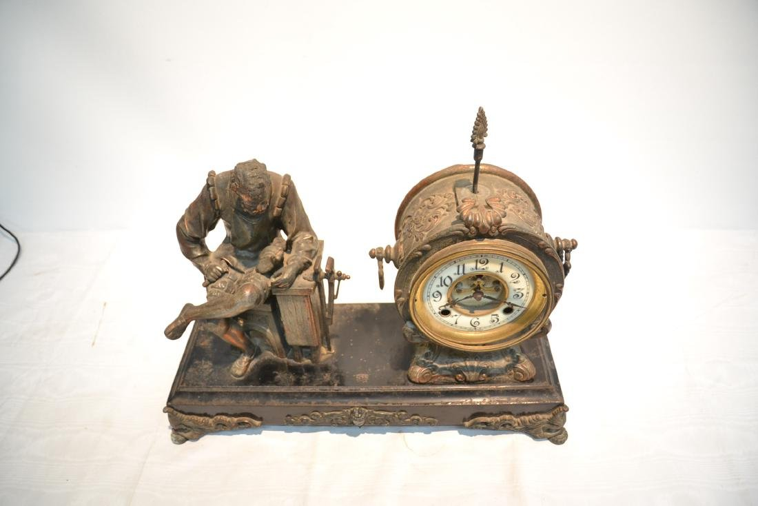 SPELTER CLOCK WITH SEATED FIGURE OF BLACKSMITH - 6