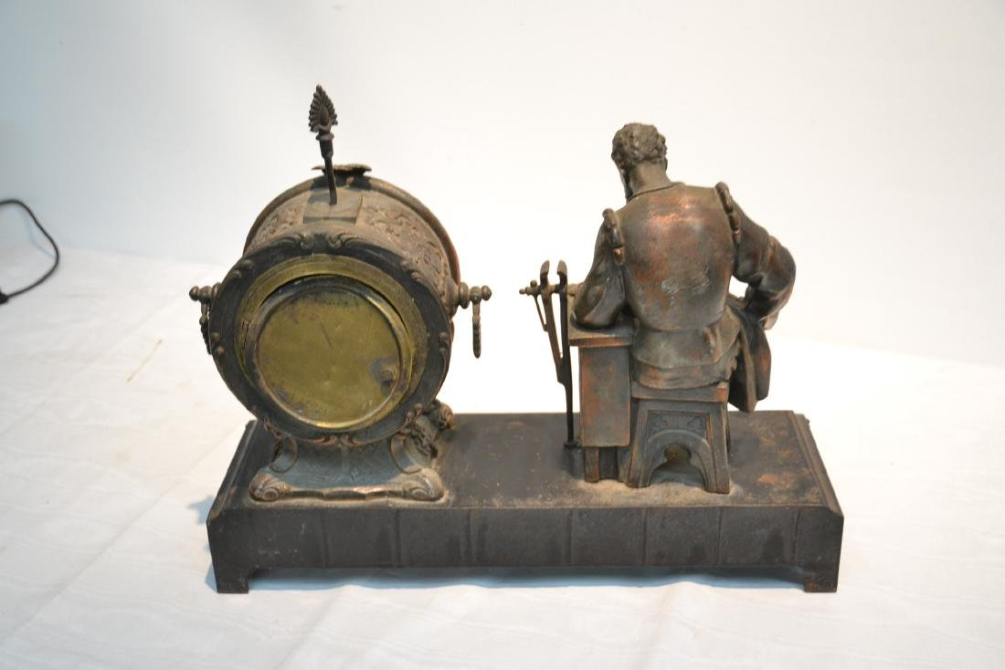 SPELTER CLOCK WITH SEATED FIGURE OF BLACKSMITH - 8