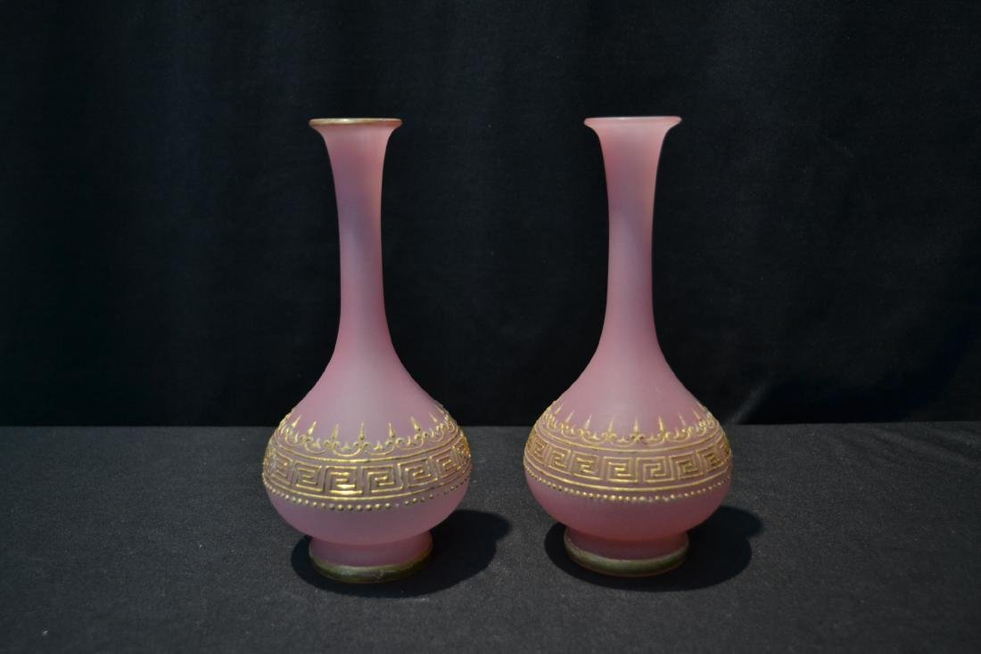 (Pr) PINK OPALINE VASES WITH GOLD DECORATIONS - 3