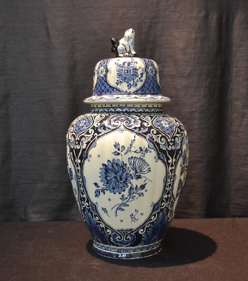 LARGE BOCH FRERES DELFT COVERED URN WITH