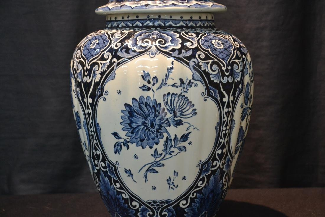 LARGE BOCH FRERES DELFT COVERED URN WITH - 2