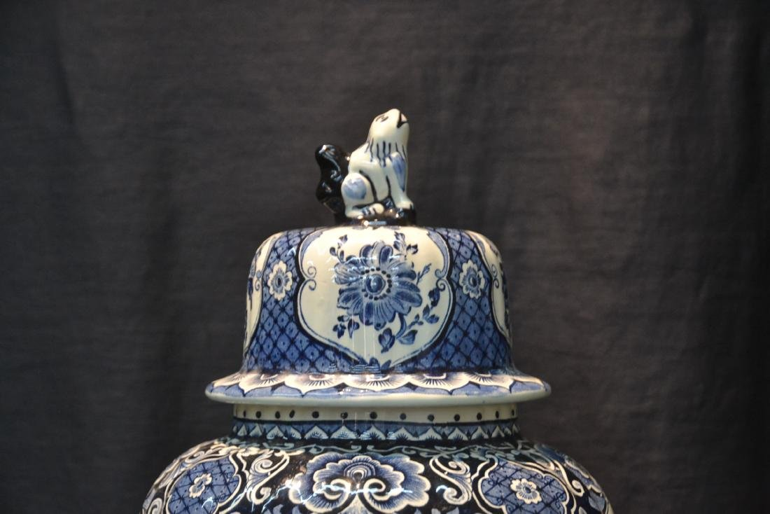 LARGE BOCH FRERES DELFT COVERED URN WITH - 4