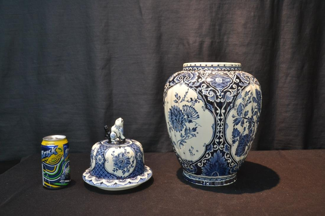 LARGE BOCH FRERES DELFT COVERED URN WITH - 5
