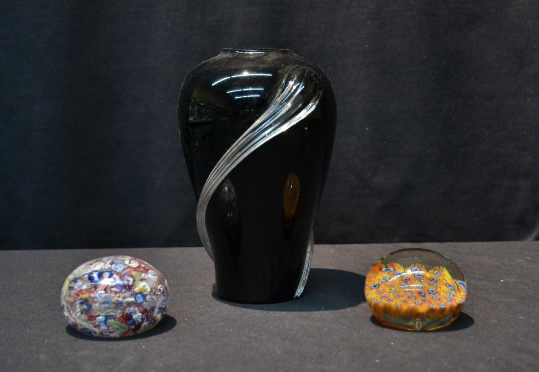 (2) MURANO ART GLASS PAPERWEIGHTS & MURANO VASE