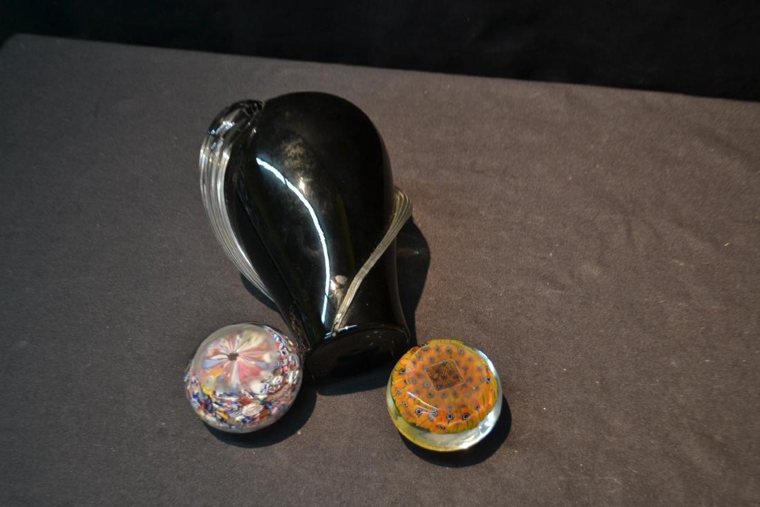 (2) MURANO ART GLASS PAPERWEIGHTS & MURANO VASE - 5