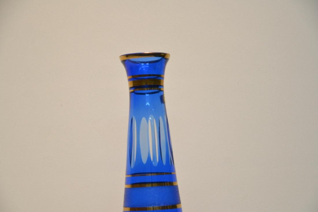 BOHEMIAN COBALT GLASS VASE WITH - 5