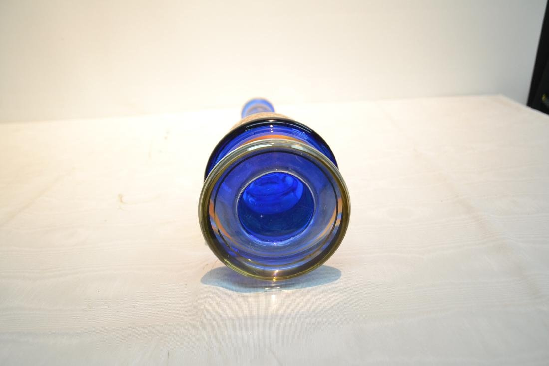 BOHEMIAN COBALT GLASS VASE WITH - 8