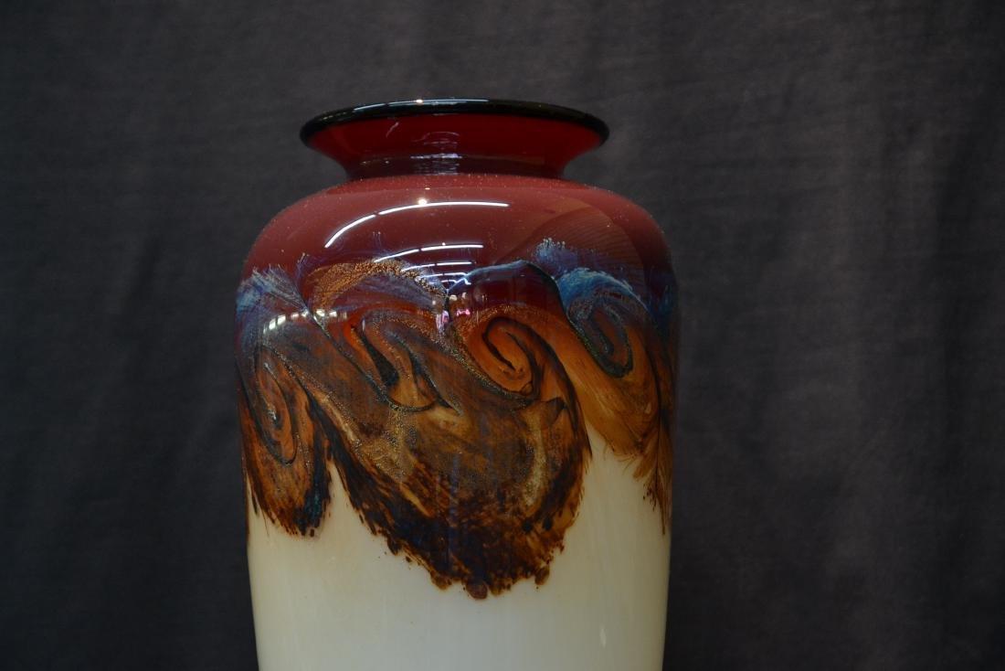 LARGE NOUROT ART GLASS VASE - 2