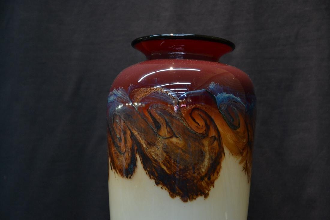 LARGE NOUROT ART GLASS VASE - 4