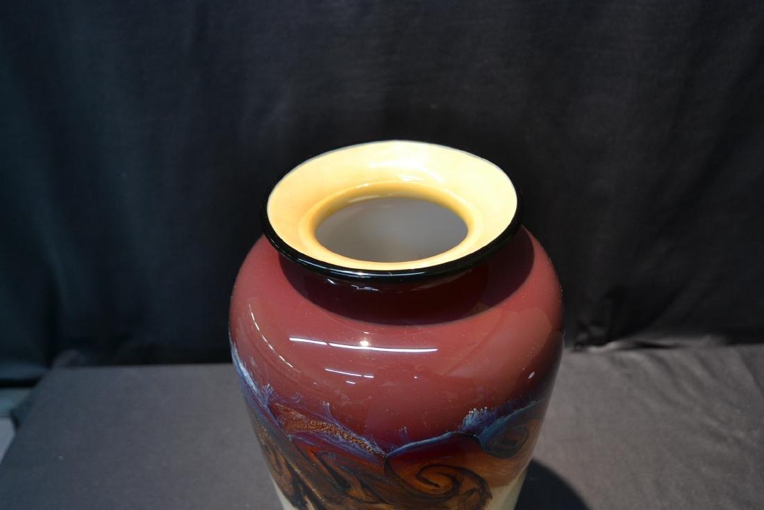 LARGE NOUROT ART GLASS VASE - 5