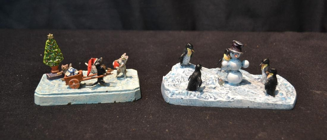(2) COLD PAINTED BRONZE MINIATURE ANIMAL GROUPINGS