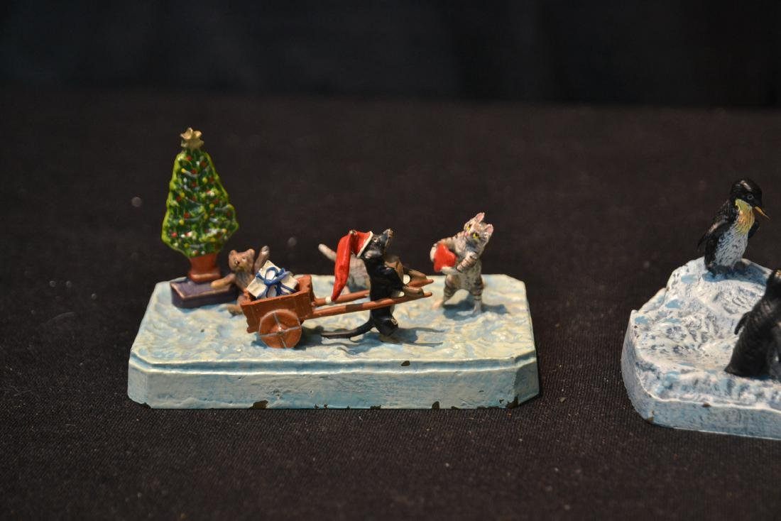 (2) COLD PAINTED BRONZE MINIATURE ANIMAL GROUPINGS - 3