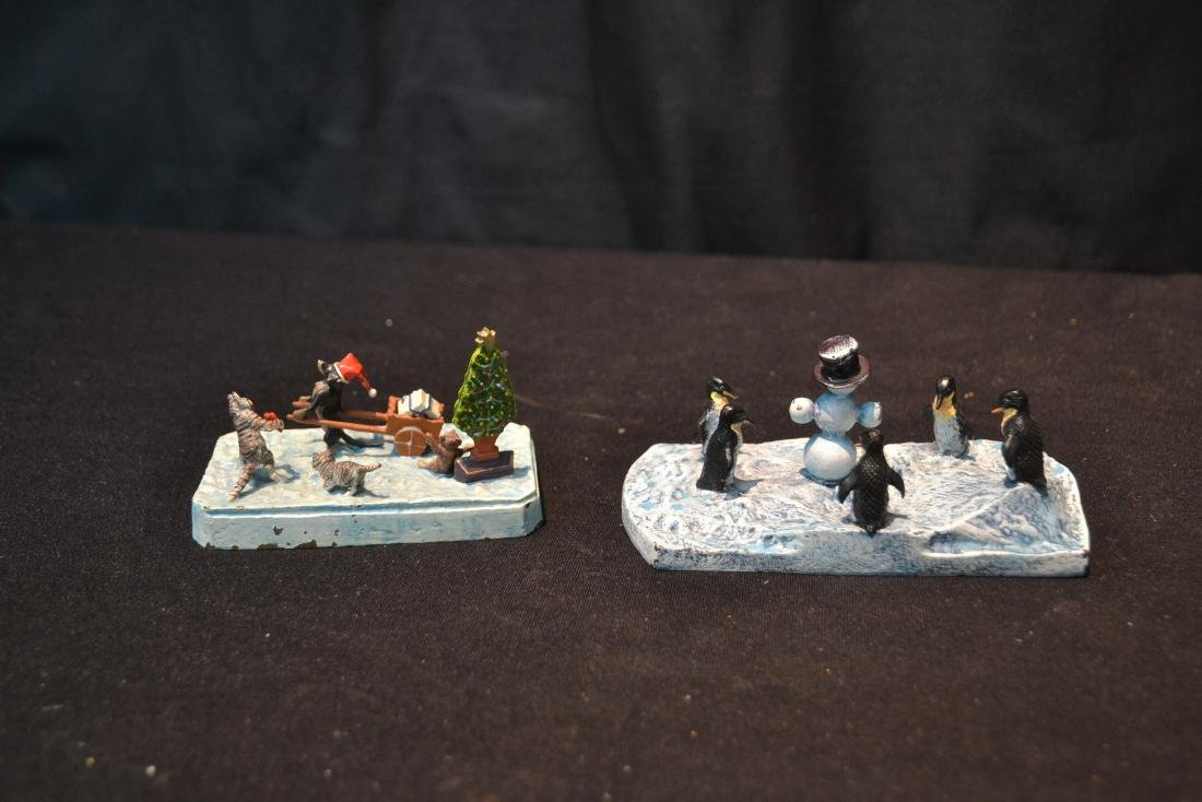(2) COLD PAINTED BRONZE MINIATURE ANIMAL GROUPINGS - 4