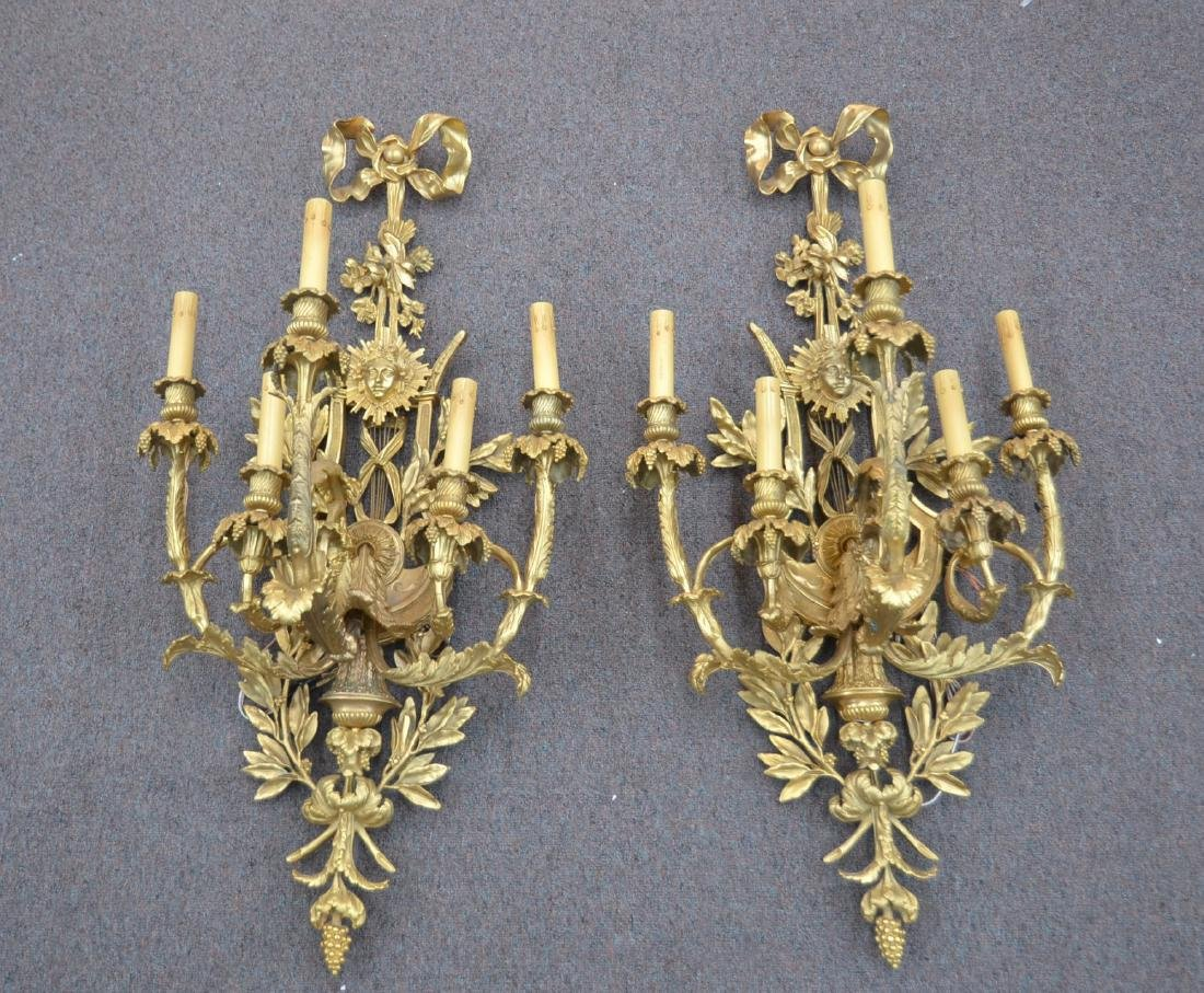 (Pr) LARGE GILT BRONZE 5-LIGHT SCONCES WITH
