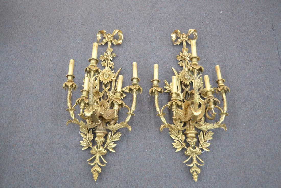 (Pr) LARGE GILT BRONZE 5-LIGHT SCONCES WITH - 2