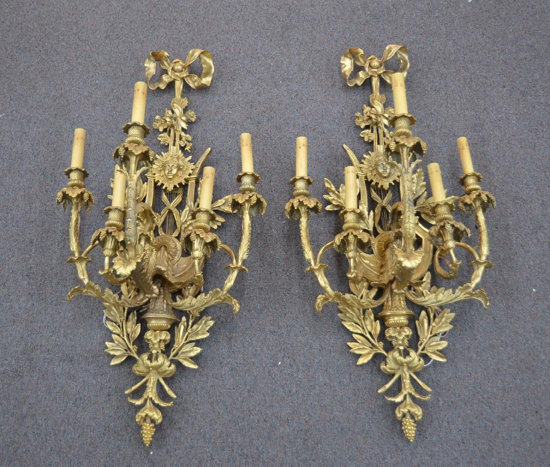 (Pr) LARGE GILT BRONZE 5-LIGHT SCONCES WITH - 3