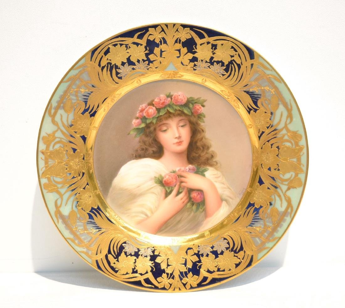 HAND PAINTED ROYAL VIENNA PORTRAIT PLATE