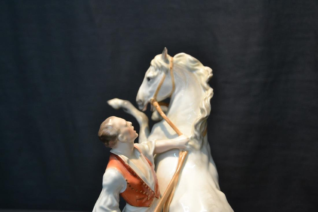 LARGE HEREND PORCELAIN FIGURE OF MAN WITH - 2