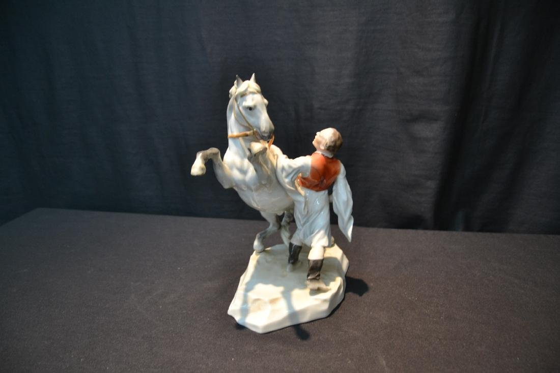 LARGE HEREND PORCELAIN FIGURE OF MAN WITH - 5