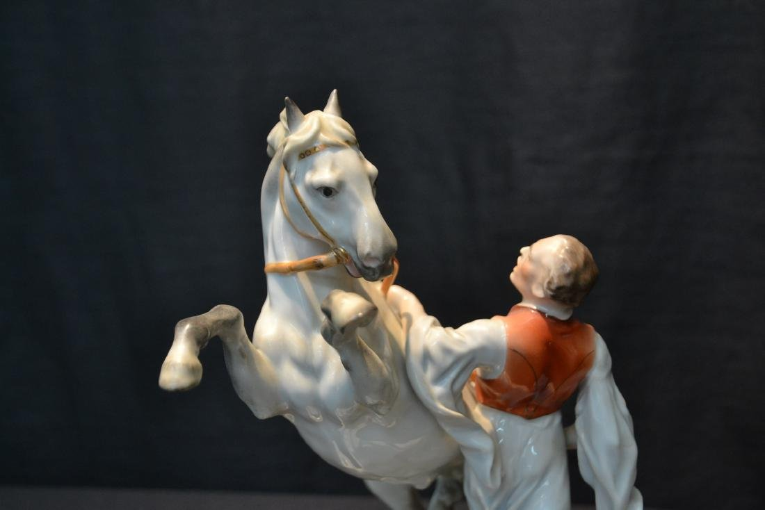 LARGE HEREND PORCELAIN FIGURE OF MAN WITH - 6