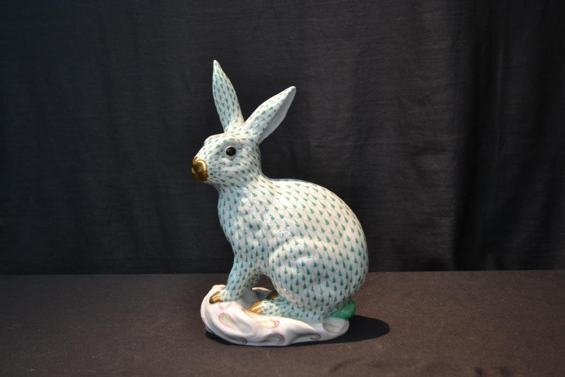 LARGE HEREND PORCELAIN RABBIT WITH - 2