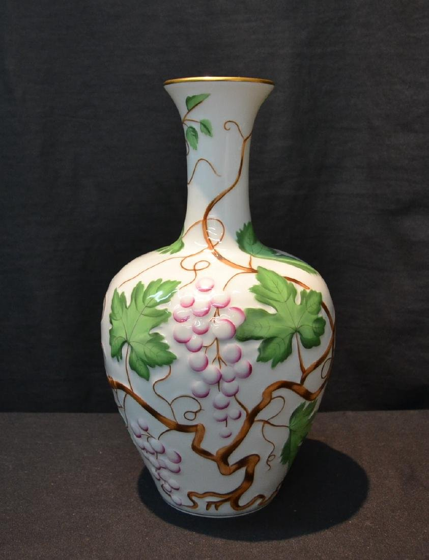 HEREND PORCELAIN VASE WITH RAISED RELEIF