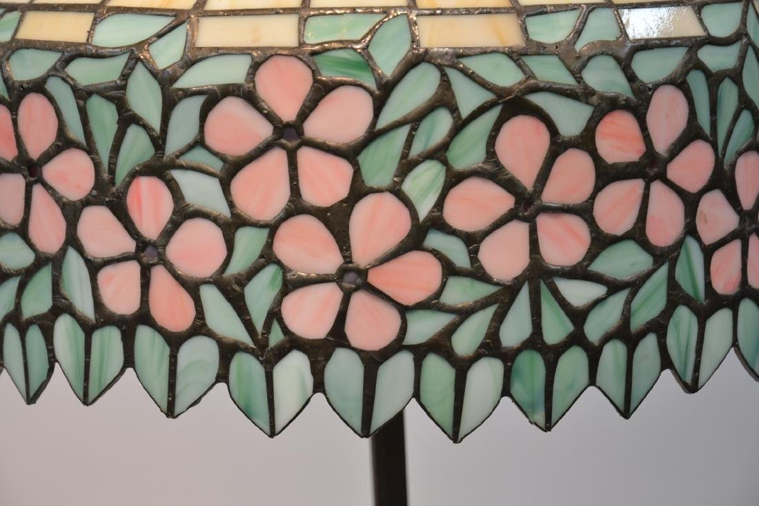 LEADED GLASS SHADE FLOOR LAMP WITH FLORAL BORDER - 5